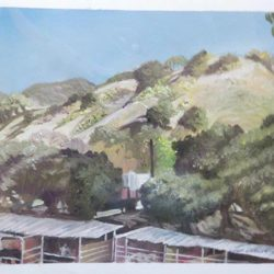 "Horse Thief Canyon Stables - Oils on paper 9""x 12"""