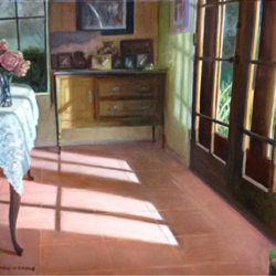 "Porchlight on Dining Room Floor - Oils on canvas 18""x 24"" on Permanent dispaly at the Inland Empire Museum of Art"