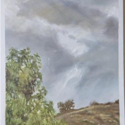 "Stormy Sky - Oils on paper 9""x 12"""