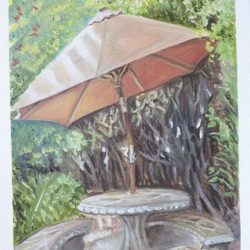 "Patio Umbrella - Oils on paper 9""x 12"""